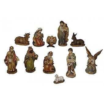 11-piece Nativity figurines. Set polyresin Nativity scene figures Holy night 11 cm