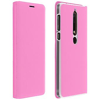 Retourner la couverture du livre, Etui portefeuille avec support pour Nokia 6.1 - rose