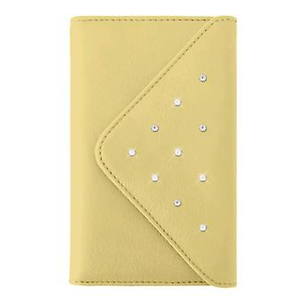 5 pack-witte diamanten Grand portemonnee Case voor Apple iPhone 6 plus, 7 Plus, 8 plus-geel