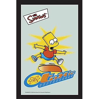 The Simpsons Bart toxic Skate of board wall mirror with black plastic framing wood