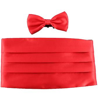 Knightsbridge Neckwear tversoversløyfe og Cummerbund sett - rød