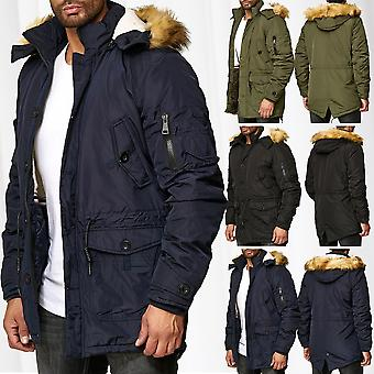 Mens Parka Winter Jacket Coat Lined Warming Coat Hooded Outdoor Warm