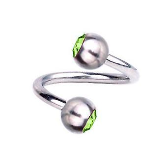 Spiral Twist Piercing Titanium 1,2 mm, SWAROVSKI ELEMENTS Green | 6 - 12 mm