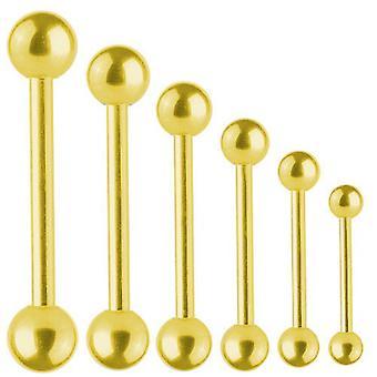 Piercing Bar guld pläterad Titan Barbell 1,6 mm med bollen | Längd 6-40 mm