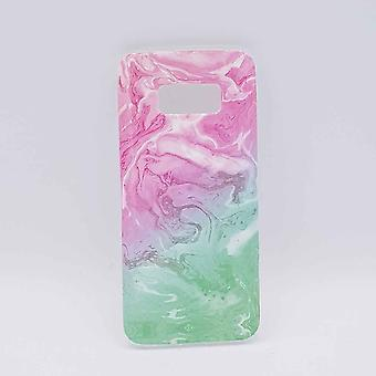 For Samsung Galaxy S8-pouch-Pink & green swirl