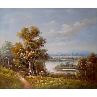 Tájkép, olajfestmény vásznon, 50x60 cm