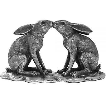 20Cm Reflections Silver Hares Kissing Ornament Home Decoration Figurine