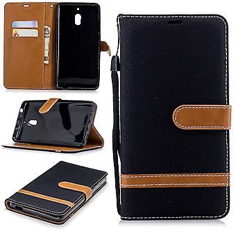 För Nokia 2.1 jeans täcka mobiltelefon skyddskåpa ärendet svart