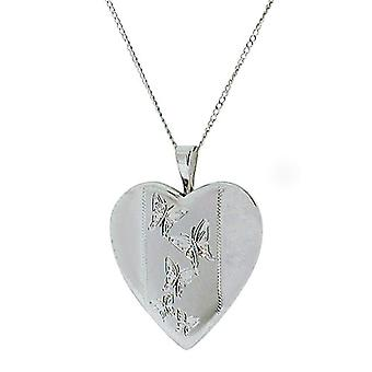TOC Sterling Silver Butterfly Engraved Heart Locket Necklace 18