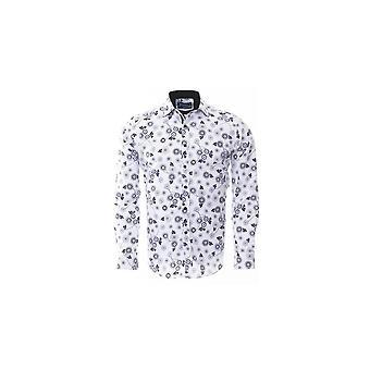 Oscar Banks White Floral Print Mens Shirt