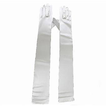 TRIXES Womens Long White Satin Elbow Length Gloves Dress Up Evening Party Finger