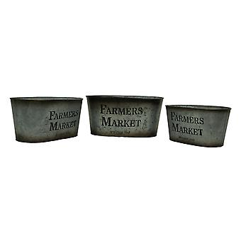 Galvanized Finish Vintage Farmers Market 3 Piece Oval Tin Set