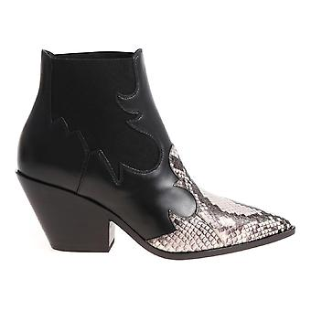 Casadei Daytime cowboy boot in black lether with ayers inserts