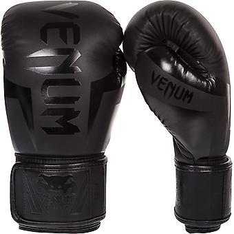 فينوم إيليت جلد جلد هوك وحلقة التدريب قفازات الملاكمة - أسود غير لامع