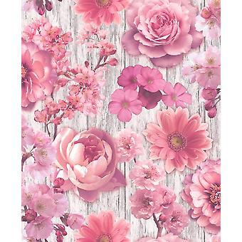 Pétalo de rosa rosa Wallpaper flores Gerbera de Glitter plata efecto madera Floral