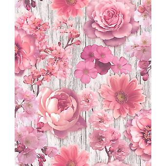 Pétale de Rose Rose Wallpaper fleurs Gerbera Glitter argent effet bois fleuri