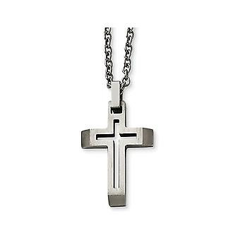 Mens Stainless Steel Brushed Cross Pendant Necklace with Chain