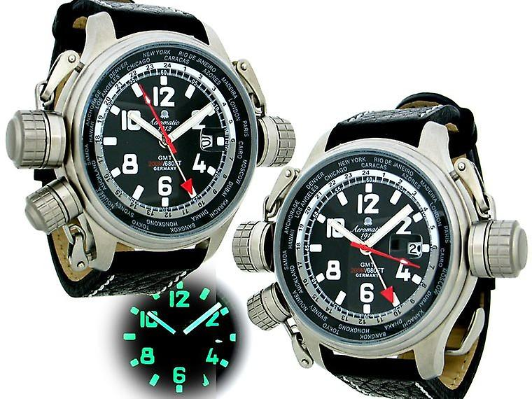Aeromatic A1300 Xxl Worldtimer Watch With Gmt Function