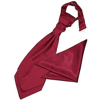 Zwykły Burgundii Cravat satyna ślub i placu kieszeni zestaw dla chłopców