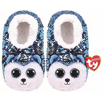TY Flippable Sequin Slippers - Slush The Husky -  Size Small (10J-12J)