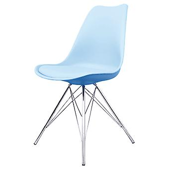 Fusion Living Eiffel Inspiré Blue Plastic Dining Chair with Chrome Metal Legs