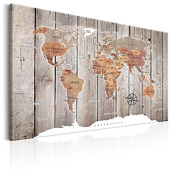 Canvas Print - World Map: Wooden Stories