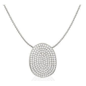 PENDANT WITH CHAIN OVAL 925 SILVER MICRO PAVE ZIRCONIUM