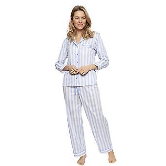 Cyberjammies 1319 naisten Nora Rose Thea sininen sekoita raidallinen puuvilla pyjama Set