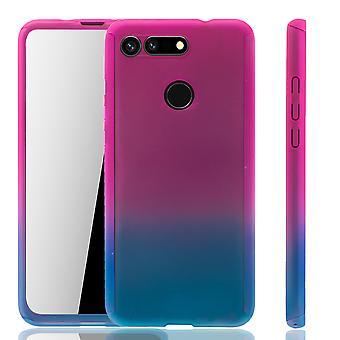 Huawei Honor View 20 Handy Hülle Schutz-Case Full-Cover Panzer Schutz Glas Pink / Blau