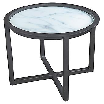 Plage7 - France QUEENS LOUNGE TABLE Alum/GLASS Marble Look 60CM  Gris mystique (