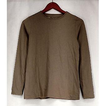 Diane Gilman Top Basic Stretch Knit w/ Long Sleeve et Crew Neck Gray 385-036