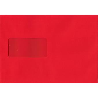 Pillar Box Red Peel/Seal C5/A5 Coloured Red Envelopes. 120gsm Luxury FSC Certified Paper. 162mm x 229mm. Wallet Style Envelope.