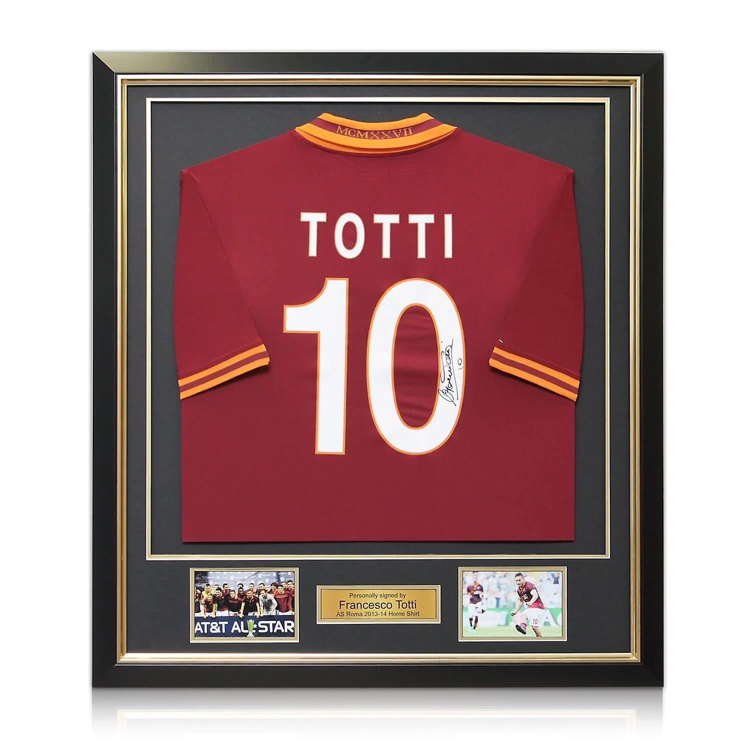 Francesco Totti Signed AS Roma Football Shirt 2013-14. In Deluxe Frame