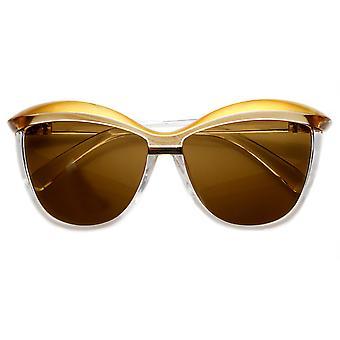 Womens superdimensionada dois tons moda Cat Eye Sunglasses