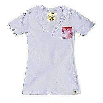Team phun pink plaid pocket ladies vee neck tee shirt