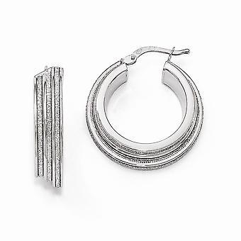 6mm 925 Sterling Silver Polished Glitter Infused Hinged Hoop Earrings - 4.7 Grams