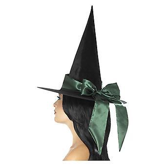 Chapeau de sorcière de luxe, noir, avec l'arc vert
