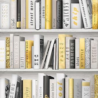 Fashion Library Bookcase Wallpaper Muriva
