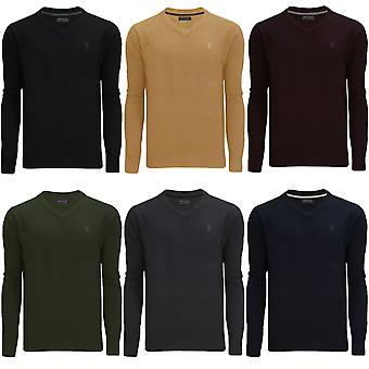 James Darby Mens Alpha Plain Long Sleeve Casual V-Neck Pullover Jumper Top