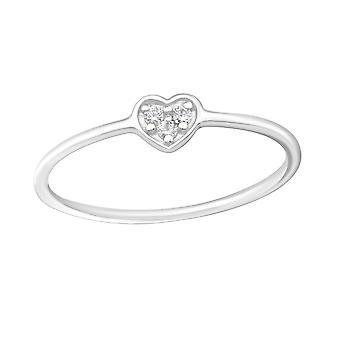 القلب - 925 الجنيه الاسترليني خواتم الفضة مرصع بالجواهر - W20663X