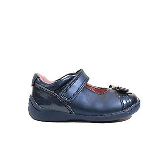 Startrite Super Soft Bow Navy Leather Girls Rip Tape Mary Jane Shoes