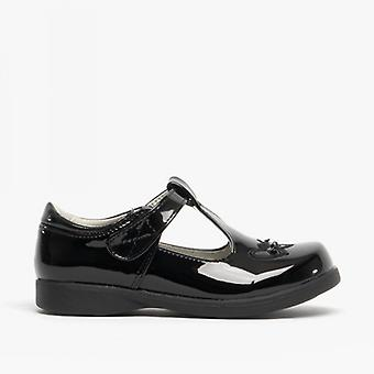 Boulevard Girls Touch Fasten T-bar School Shoes Black Patent