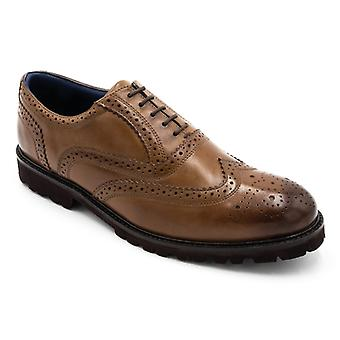 Padders Stamford Mens Leather Wide (g Fit) Brogue Shoes Tan
