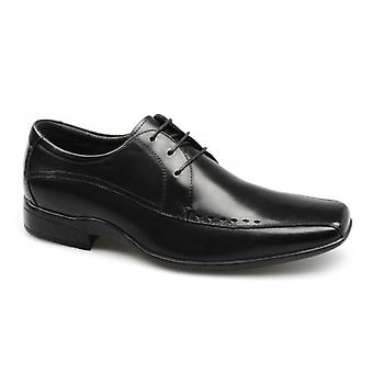 Front Ryton Mens Perforated Leather Lace-up Shoes Black
