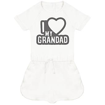 I Love My Grandad Black Outline Baby Playsuit