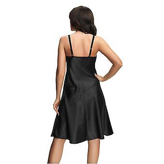 ゴルセニア K529 女性's マグネティックブラック&シルバーレースナイトガウンラウンジウェアナイトドレス