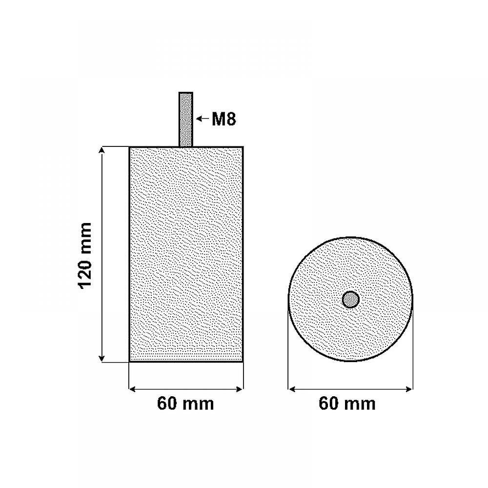 Acier inoxydable rond Jambe de meubles 12 cm (M8)