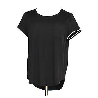 Cuddl Duds Women's Sleepshirt Jersey Solid Contrast Trim Black A346857