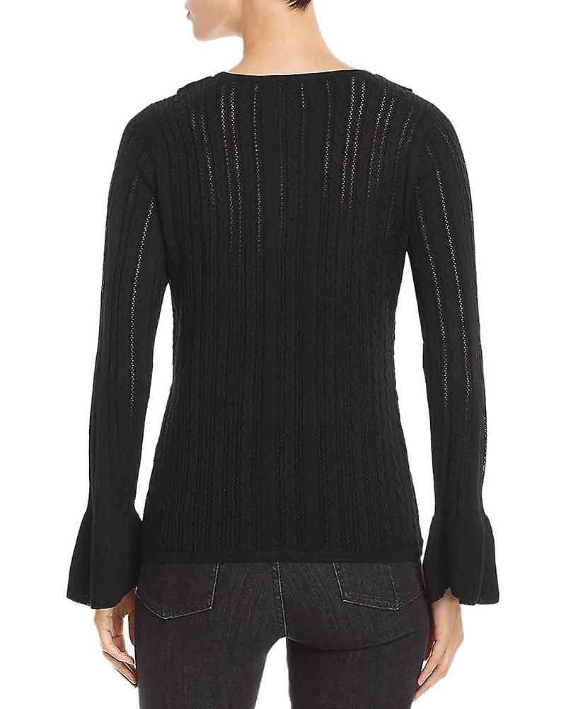 Design History Womens Pointelle Ruffled Pullover Sweater