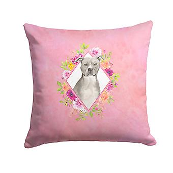 Blue Pit Bull Terrier Pink Flowers Fabric Decorative Pillow